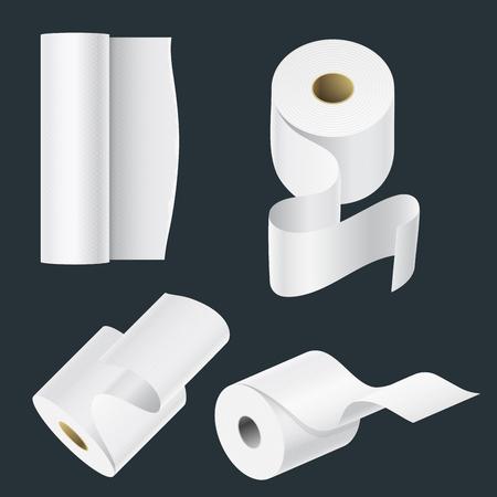 Realistische Papierrolle Mock-up-Set isoliert Vektor-Illustration leere weiße 3d Verpackung Küchentuch, Toilettenpapierrolle, Registrierkasse Klebeband, Thermo-Fax-Rollenschablone Standard-Bild - 88157248