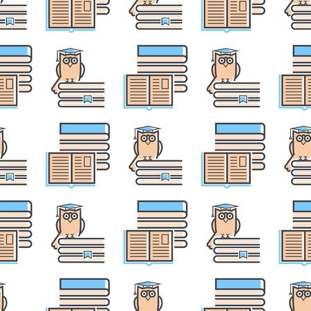 Flat design outline, seamless pattern of education tutorials staff vector illustration. Illustration