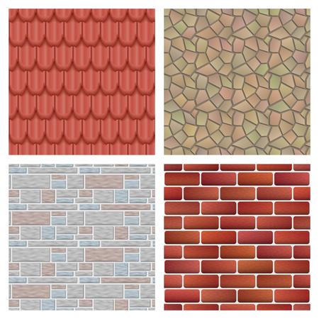 Daktegels van klassiek textuur en huisdetailspatroon. Stock Illustratie