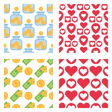 Set of dollar currency and red hearts vector bank finance business seamless pattern money background. Wrapping financial economy gold sign.