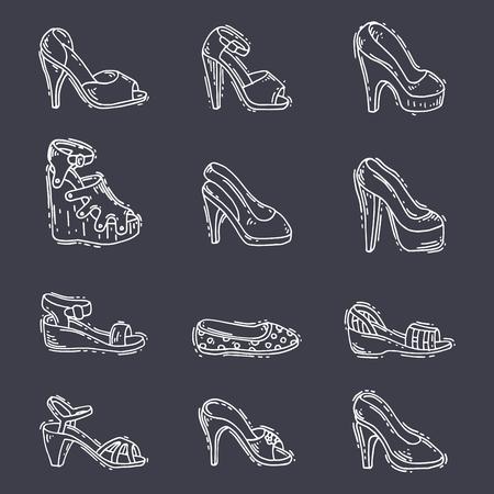 Satz von Frauen Schuhe flache Darstellung Standard-Bild - 88185079
