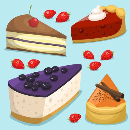 Cartoon cake fresh tasty dessert sweet pastry pie vector illustration gourmet homemade delicious Ilustração