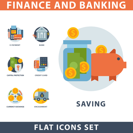Money finanse banking safety icons business currency card financial deposit bank payment vector illustration.