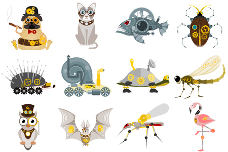 Stylized metal steampunk mechanic robots animals machine steam gear insect punk art machinery vector illustration. Metallic technology vintage toy mechanism. Çizim
