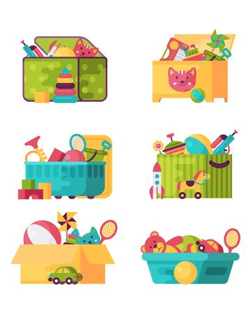 Volledige kind speelgoed in vakken voor kinderen spelen kindertijd babyroom container vectorillustratie. Speelkamer voor kinderen van karton