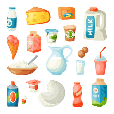 Milk dairy products in flat style breakfast gourmet organic meal fresh diet food milky drink ingredient nutrition vector illustration. Calcium jar grocery assortment.