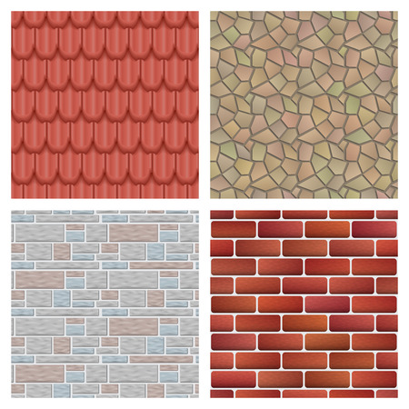 클래식 텍스처 및 세부 지붕 타일 집 원활한 패턴 소재 벡터 일러스트 레이 션. 외부 건축 건축 패턴 배경 반복 구조입니다.