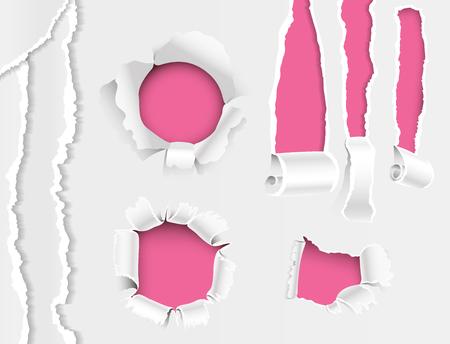 Les bords déchirés lacèrent le bord déchiqueté de papier déchiré et la fissure réaliste 3D collection d'illustration de vecteur de style, modèle de page de concept grunge. Déchiré déchiré dommages ouverture fond de bannière.