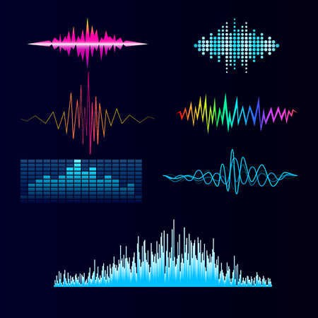 Vector digital music equalizer audio waves design template audio signal visualization signal illustration.