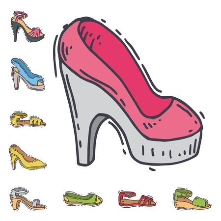 여자 신발 평면 디자인의 집합 벡터 손으로 그린 스타일의 가죽 컬러 moccasins 발 뒤꿈치 신발 그림.