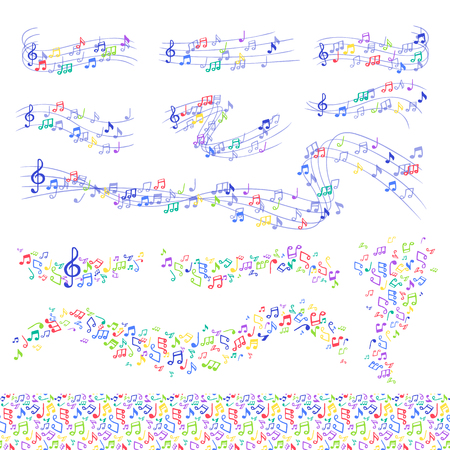 Vector notes music melody colorfull musician symbols melody text writting symphony Illustration