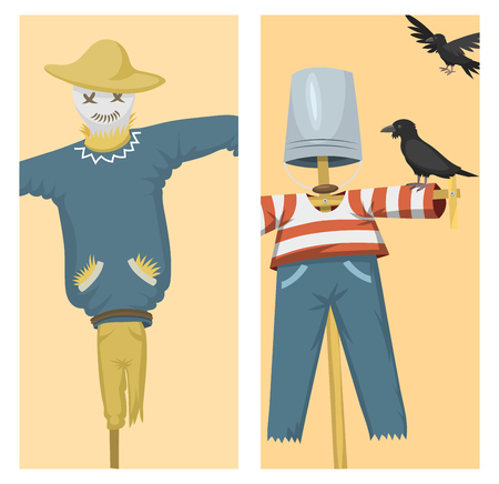 Different dolls toy character game dress and farm scarecrow rag-doll vector illustration Çizim