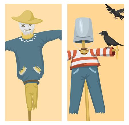 Verschillende poppen speelgoed karakter spel jurk en boerenvogelverschrikker rag-pop vector illustratie Stock Illustratie
