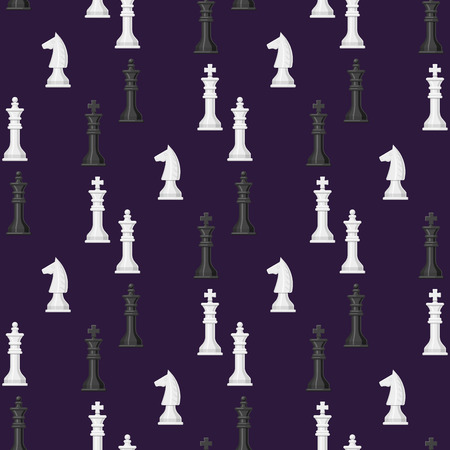 チェス ボードのシームレスなパターン背景の駒レジャー概念の騎士グループ白と黒のピース競争ベクトル図  イラスト・ベクター素材