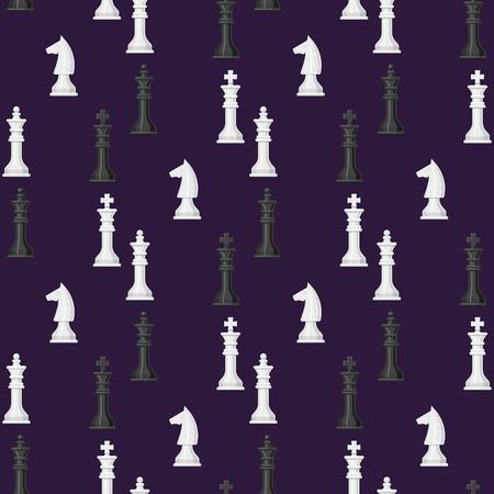 Illustrazione bianca e nera di vettore della concorrenza del pezzo del cavaliere di concetto di svago di scacchi del fondo dei pezzi degli scacchi del modello senza cuciture del bordo di scacchi