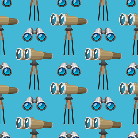 Professional camera lens binoculars glass look-see spyglass optics seamless pattern camera focus optical equipment vector illustration Ilustração