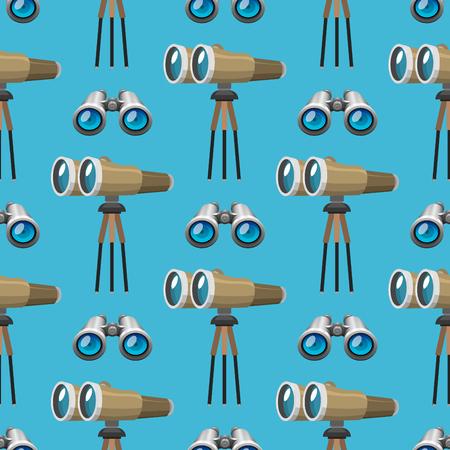 Professional camera lens binoculars glass look-see spyglass optics seamless pattern camera focus optical equipment vector illustration Illustration