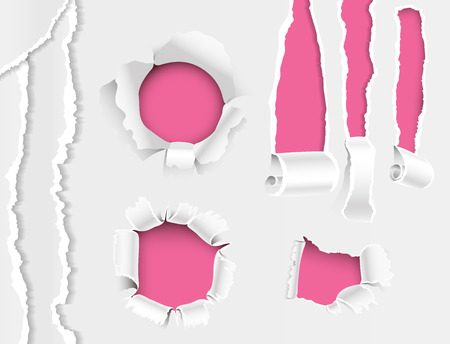 Torn edges hole lacerated ragged paper edge and crack realistic 3d style vector illustration collection