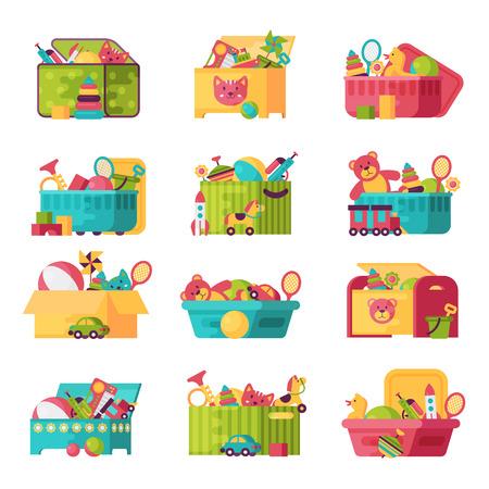 Het volledige jong geitjespeelgoed in dozen voor jonge geitjes speelt vectorillustratie. Stock Illustratie