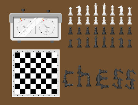 Chess board and chessmen leisure concept vector illustration.