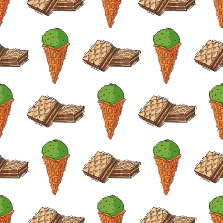 Wafer and ice cream seamless pattern vector illustration. Illustration