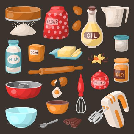 Baking pastry prepare cooking ingredients kitchen utensils homemade food preparation baker vector illustration. Ilustração