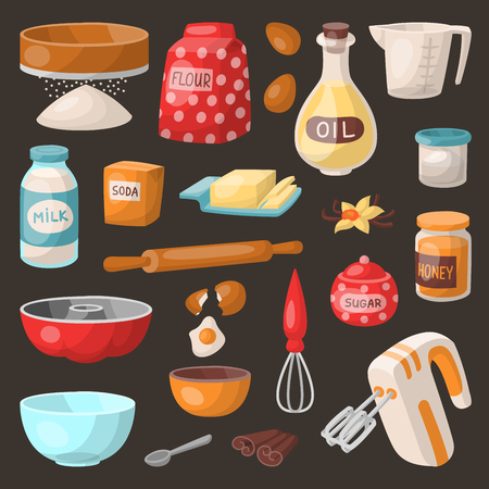 Baking pastry prepare cooking ingredients kitchen utensils homemade food preparation baker vector illustration. Illustration