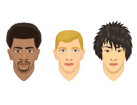 Ejemplo del vector de la persona de la historieta del retrato de la cara del personaje masculino del avatar del carácter del hombre joven.