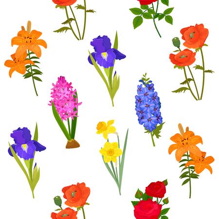 Natural flower bloom iris daffodil rose wreath illustration greeting card vector seamless pattern background blossom Ilustração