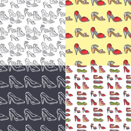 Insieme dello stile disegnato a mano della raccolta di vettore del fondo del modello del modello senza cuciture delle scarpe dei mocassini colorati cuoio inizializza l'illustrazione. Indossare per tutte le stagioni. Per i concetti di moda annuncio di scarpe negozio. Archivio Fotografico - 89751323