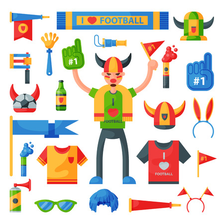Colored football soccer fan attribute rooter buff man sport character accessories tools to cheer for your favorite team vector illustration.