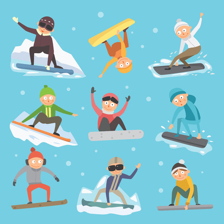 Snowboarder jump in different pose vector. Ilustrace