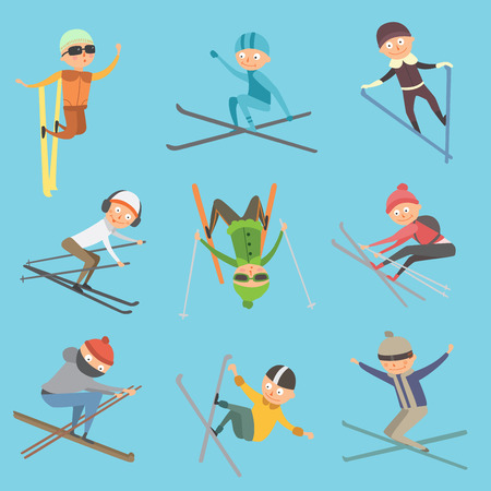 Skiing people tricks vector illustration. Ilustrace