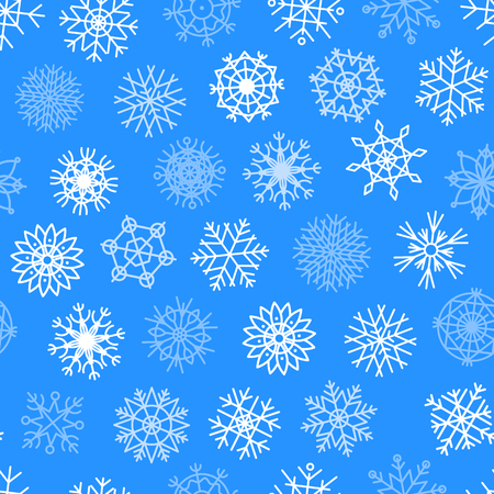 Snowflakes vector icons frozen star Christmas frost decoration icons snow winter flakes elemets Xmas holiday design seamless pattern background