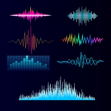 ベクトル デジタル音楽イコライザー オーディオ波デザイン テンプレート オーディオ信号の可視化信号図です。 写真素材 - 90156810