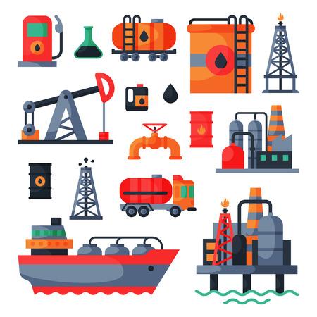 Öl Petroleum Extraktion Verarbeitung Transport Industrie Klimaanlage Kraftstoff Kraftstoff Gas Industrie Pumpe Vektor-Illustration