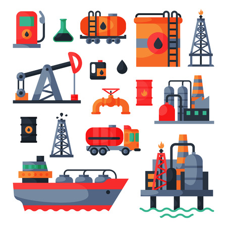 Oil petroleum extraction processing transportation recovery industry refinery fuel gas drilling industrial pump vector illustration Imagens - 90157372