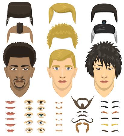 Man gezicht portret emoties constructor elementen ogen, lippen, baard, snor avatar icoon schepper vectorillustratie. Stock Illustratie
