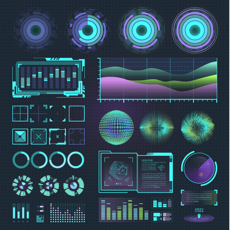 Jogo infographic gráfico do movimento futurista do espaço da relação e ilustração do vetor do holograma da barra da onda do gráfico do projeto do hud dos elementos do ux da ui.