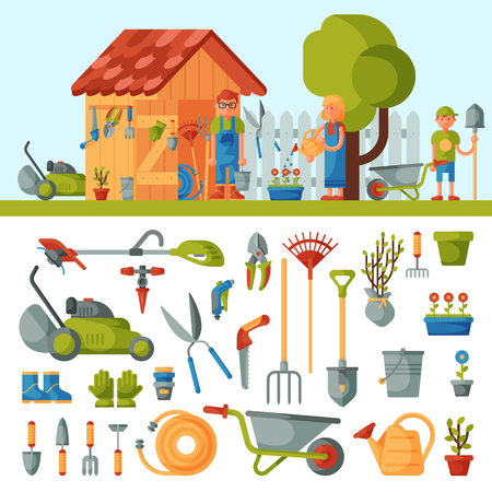 Garden farm instruments tools and farmer family near house various agricultural tools for gardening care colorful vector flat illustration.