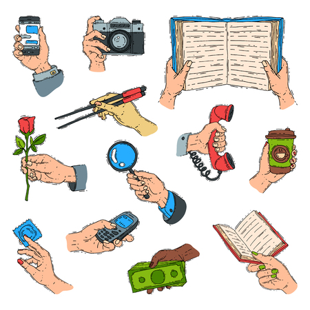 Sketch hands holdings objects and showing items people body handy part gesture presentation concept vector illustration.