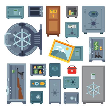 Money safe steel vault door finance business concept safety business box cash secure protection deposit vector illustration. Çizim