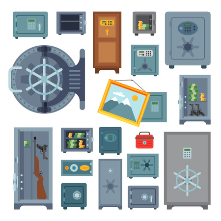 Money safe steel vault door finance business concept safety business box cash secure protection deposit vector illustration. Illusztráció