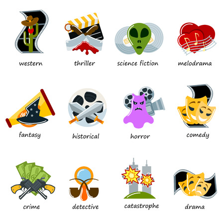 Cinema genre icons set flat comedy, drama, thriller, comedy cinematography movie production designation marking sign vector illustration.