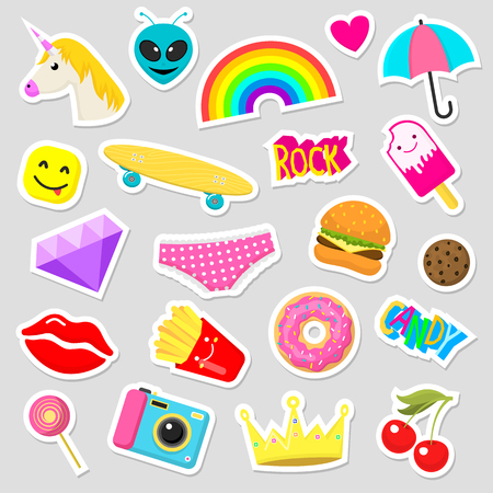Girl fashion stickers patches cute colorful badges fun cartoon icons design doodle element trendy print vector illustration. Vectores