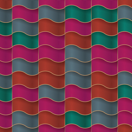 Roof tiles of classic texture in seamless pattern. vector illustration Ilustração