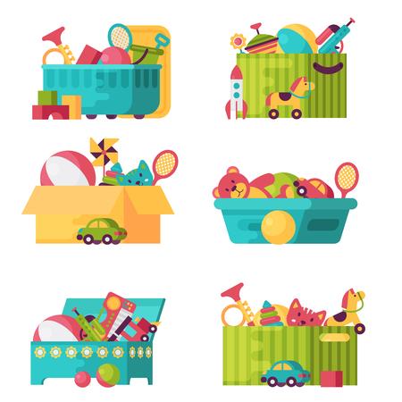Scatole piene di giocattoli per bambini isolati in bianco Archivio Fotografico - 90273283