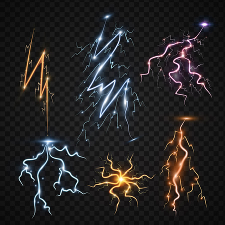 Lightning bolt storm strike realistic 3d light thunder-storm magic and bright lighting effects vector illustration.