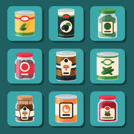 Collection of various tins canned goods, food metal and glass container vector illustration. Illustration
