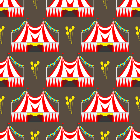 Circus show entertainment tent marquee outdoor festival in seamless pattern with stripes and flags carnival